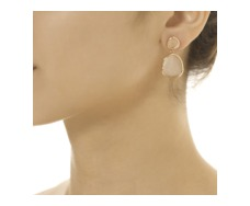 Rose Gold Vermeil Siren Medium Drop Earrings - Rose Quartz - Monica Vinader