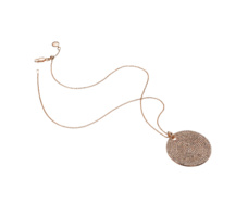Rose Gold Vermeil  Ava Large Disc Pendant - Champagne Diamond - Monica Vinader