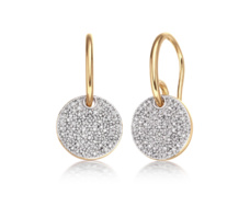 Gold Vermeil Ava Disc Drop Earrings - Diamond - Monica Vinader