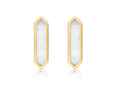 Gold Vermeil Baja Earrings - White Agate - Monica Vinader