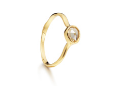 Gold Vermeil Siren Small Stacking Ring - Citrine - Monica Vinader