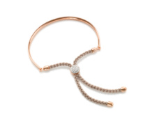 Rose Gold Vermeil Fiji Pave Toggle Friendship Bracelet - Diamond - Monica Vinader