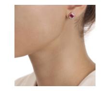 Rose Gold Vermeil Baja Precious Stud Earrings - Ruby & Diamond - Monica Vinader