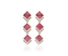 Rose Gold Vermeil Baja Precious Cocktail Earrings - Ruby & Diamond - Monica Vinader
