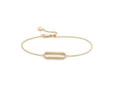 Gold Vermeil Diva Rectangle Open Bracelet - Diamond - Monica Vinader