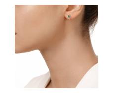 Gold Vermeil Diva Lotus Stud Earrings - Green Aventurine and Diamonds