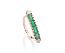 Rose Gold Vermeil Baja Precious Skinny Ring - Emerald