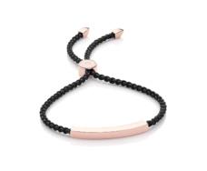 Rose Gold Vermeil Linear Friendship Bracelet - Black Cord