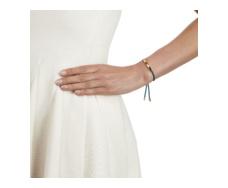 Gold Vermeil Linear Friendship Bracelet - Mallard Blue Cord model