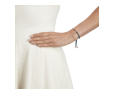 Rose Gold Vermeil Linear Friendship Bracelet - Mallard Blue Cord model