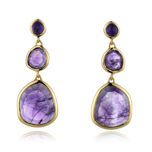 Gold Vermeil Siren Earrings - Amethyst - Monica Vinader