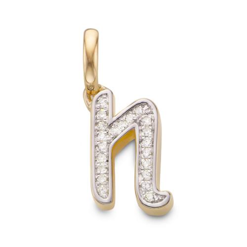 Gold Vermeil Diamond Alphabet Pendant N - Diamond - Monica Vinader