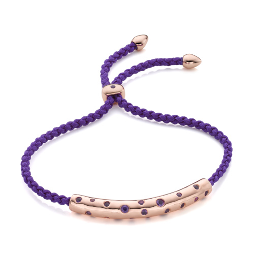 Rose Gold Vermeil Esencia Scatter Friendship Bracelet - Plum - Monica Vinader