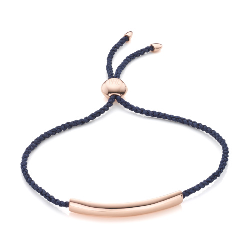 Rose Gold Vermeil Esencia Fine Corded Friendship Bracelet - Navy Blue - Monica Vinader