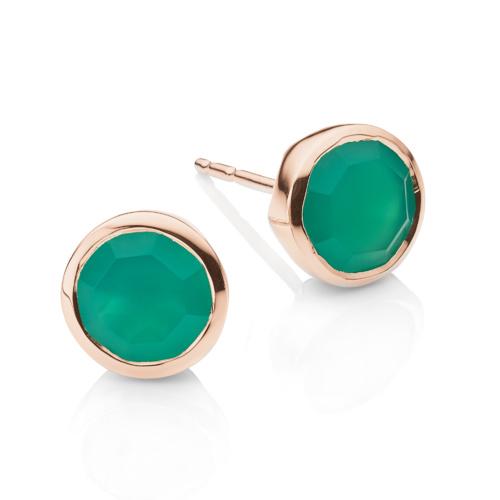 Rose Gold Vermeil Isla Stud Earrings - Green Onyx - Monica Vinader