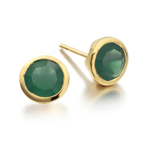 Gold Vermeil Isla Stud Earrings - Green Onyx - Monica Vinader