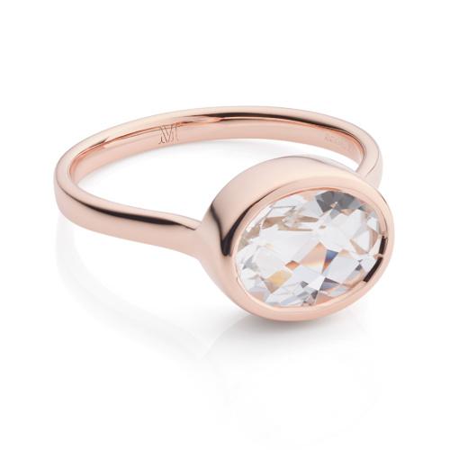 Rose Gold Vermeil Candy Oval Ring - Rock Crystal - Monica Vinader