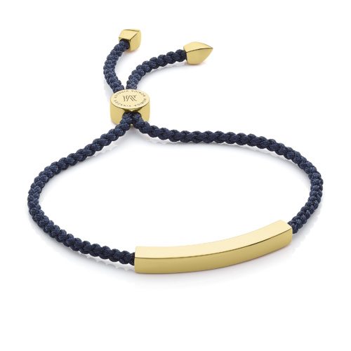 Gold Vermeil Linear Friendship Bracelet - Navy Blue - Monica Vinader