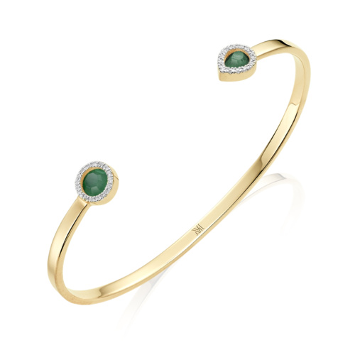 Gold Vermeil Naida Thin Cuff - Green Aventurine and Diamonds