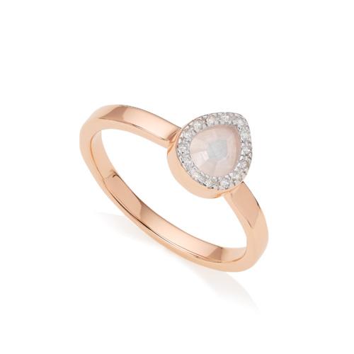 Rose Gold Vermeil Naida Mini Lotus Ring - Diamonds & Moonstone