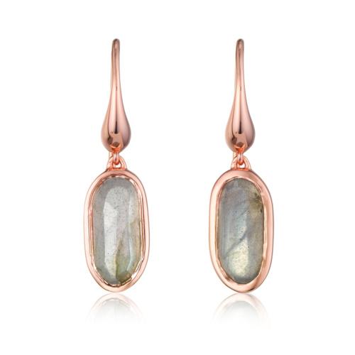 Rose Gold Vermeil Vega Drop Earrings - Labradorite