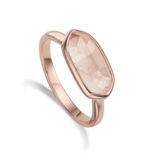 Rose Gold Vermeil Vega Ring - Rose Quartz