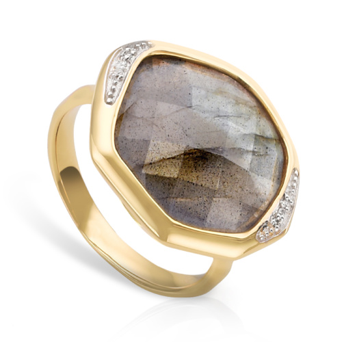 Gold Vermeil Riva Diamond And Labradorite Cocktail Ring - Monica Vinader