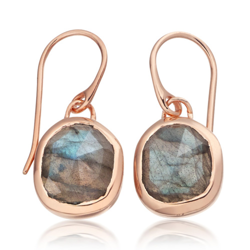 Rose Gold Vermeil Siren Wire Earrings - Labradorite - Monica Vinader