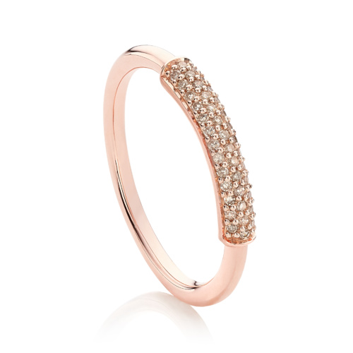 Rose Gold Vermeil Stellar Stacking Ring - Champagne Diamonds - Monica Vinader