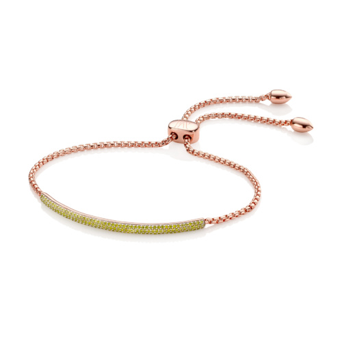 Rose Gold Vermeil Stellar Pave Mini Bar Bracelet - Yellow Diamonds - Monica Vinader