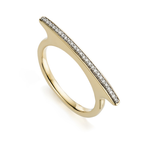 Gold Vermeil Skinny Long Bar Ring - Diamond - Monica Vinader