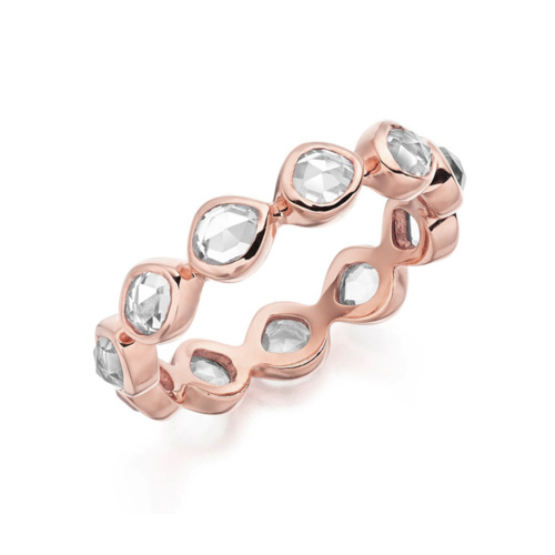 Rose Gold Vermeil Siren Eternity Ring Small - Rock Crystal