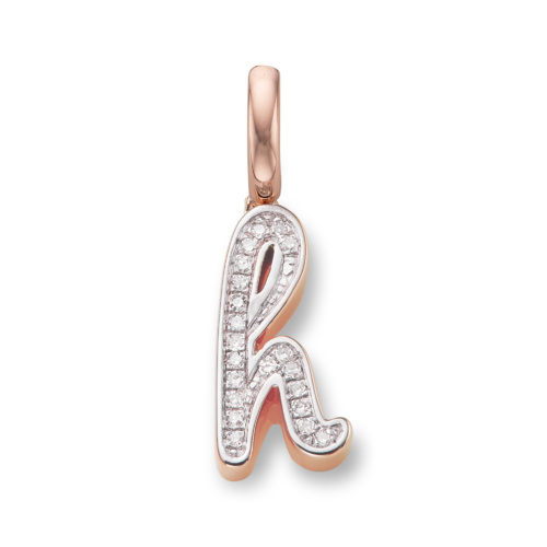 Rose Gold Vermeil Alphabet Pendant H
