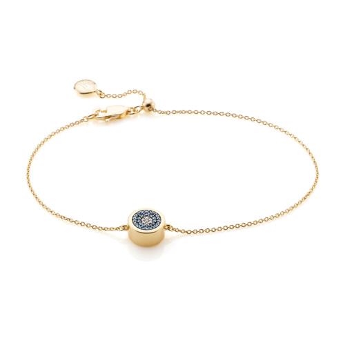 Gold Vermeil Evil Eye Chain Bracelet - Diamond - Monica Vinader